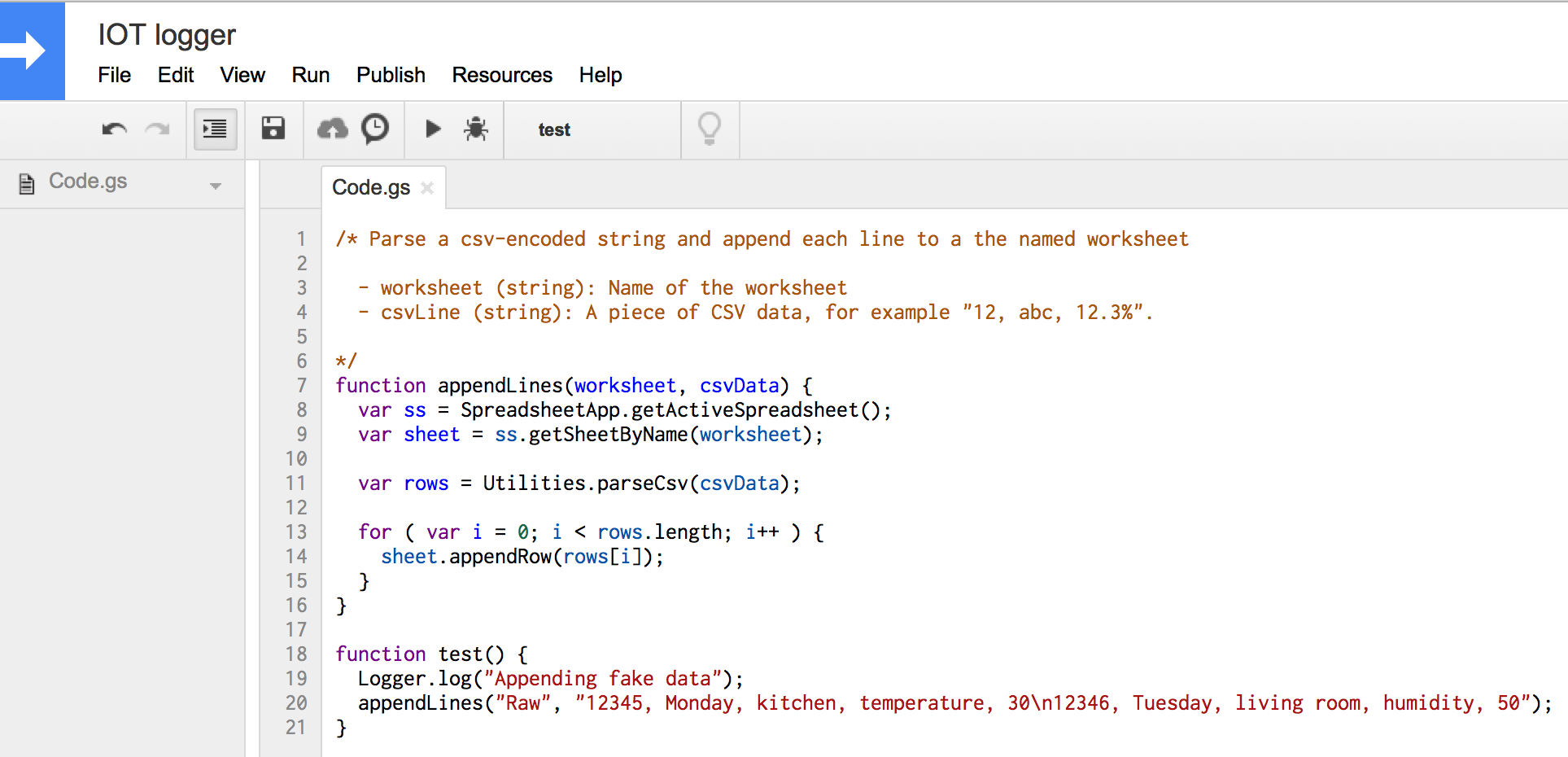 how to run a java script on google sheets